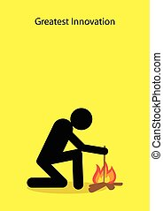 Innovation - Stick figure making fire with wooden stick