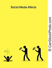 Social Media Affects - Illustration of stick figures walking...