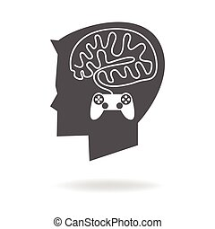 Game Addiction - Graphic illustration of a boy head with...