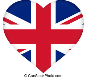 Union Jack Heart - Illustration of a Union Jack flag that is...