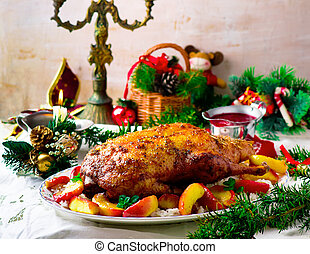the Christmas baked duck with apples - the Christmas baked...