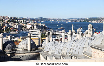 Bosphorus Strait in Istanbul City - Golden Horn and...