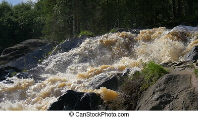 Mountain waterfall in North Karelia. - Mountain waterfall....