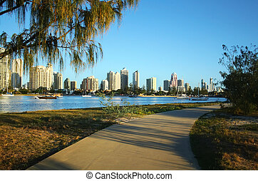 Main Beach Surfers Paradise Australia - View across the...