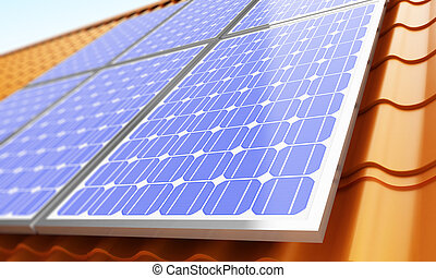 Solar panels on the roof 3d Illustrations