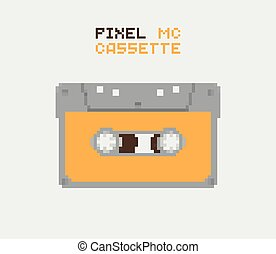 Pixel MC Cassette, retro record medium, pixelated...