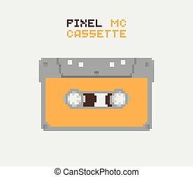 Pixel MC Cassette, retro record medium, pixelated...
