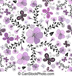 Seamless floral white pattern with handwork flowers and...
