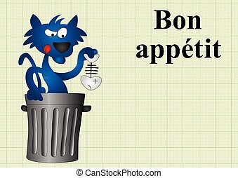 Bon appetit - Cat with fish dinner bon appetit translates as...