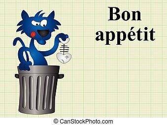 Bon appetit - Cat with fish dinner bon appetit translates as...