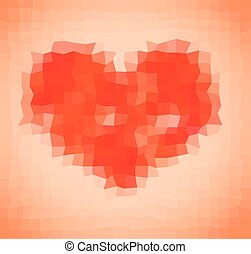 Pixelated heart, polygonal background, template - Stock...