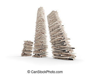 newspapers - tree isolated newspaper towers (3D rendering)