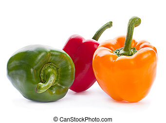Tricolor pepper vegetable isolated on white