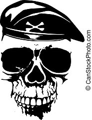 skull in beret - Vector illustration grunge soldier skull in...