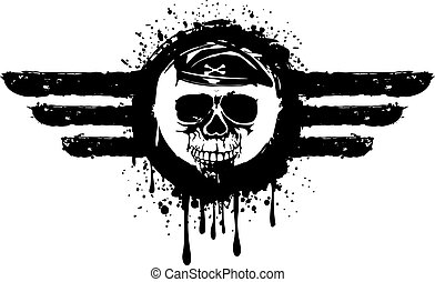 skull in frame - Vector illustration grunge skull in frame