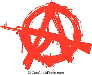 symbol anarchy in circle and machine gun - Vector...