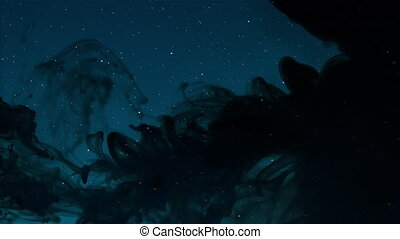 Stars in a dark sky being covered - Stars in a dark blue sky...