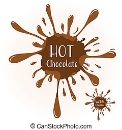 Chocolate blot with text HOT Chocolate - Vector chocolate...