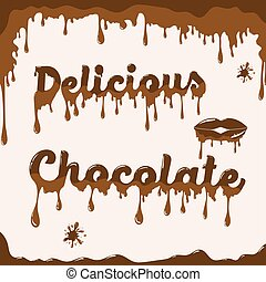 Chocolate background template with melting effect