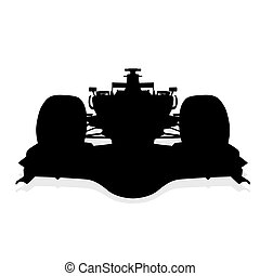 Formula car vector silhouette, front view
