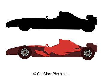 Red formula racing car, vector silhouette and illustration