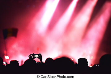 Crowd recording live concert with smart phones - Mobile...