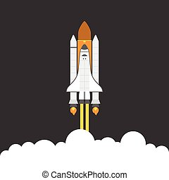space shuttle, flat design