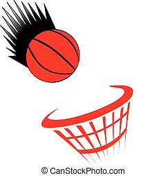 basket ball white - basketball being thrown into net on...