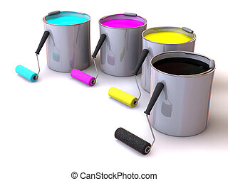 Rollers brush and buckets of paint 3d