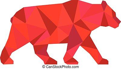 American Black Bear Walking Low Polygon - Low polygon style...