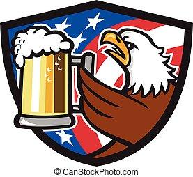 Bald Eagle Hoisting Beer Stein USA Flag Crest Retro -...
