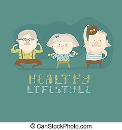 Elderly people doing exercises Vector flat cartoon...