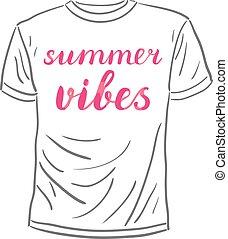 Summer vibes lettering. - Summer vibes. Brush hand lettering...
