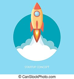 Project start up and development process. - Space rocket...