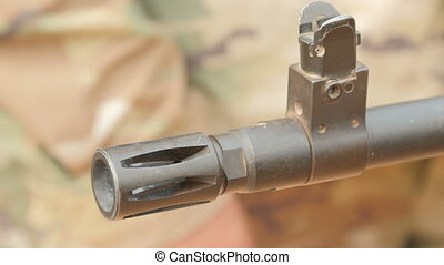 Rifle barrel close-up. - Visible front part of the gun....