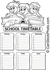 Black and white school timetable