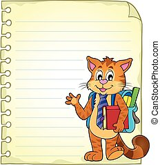 Notebook page with school cat
