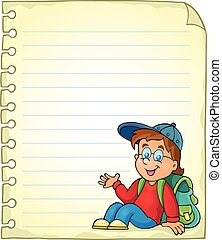 Notebook page with schoolboy - eps10 vector illustration.