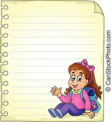 Notebook page with schoolgirl