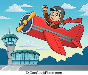 Pilot in retro airplane