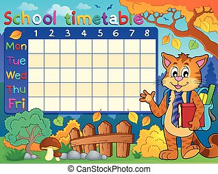 School timetable with cat - eps10 vector illustration