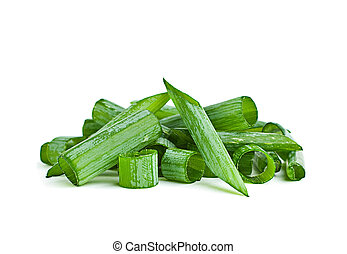 Green onion herb chopped isolated on white