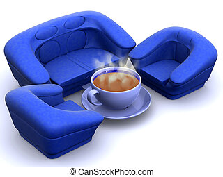Armchair with cup of coffee 3d
