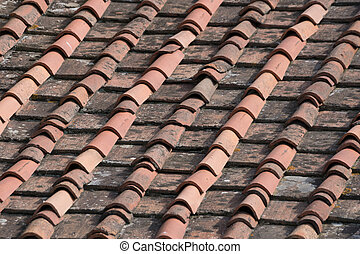 old Roof Pans on a House in Florence, Italian - old Roof...