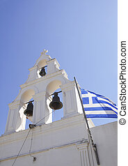 Greece - White church with Greek flag