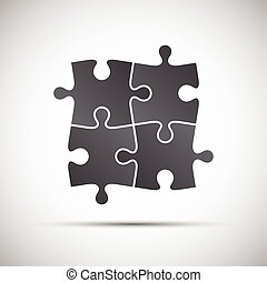 Simple vector illustration of a four pieces puzzle