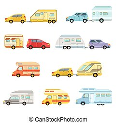 Colorful Rv Minivan With Trailer Set Of Icons. Family...