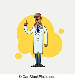 Vector character of happy black doctor in medical uniform. Physician in professional clothes. Flat line style design.