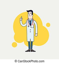 Vector character of happy doctor in medical uniform. Physician in professional clothes. Flat line style design.