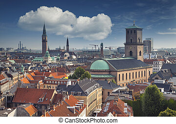 Copenhagen. - Image of Copenhagen skyline during sunny day.